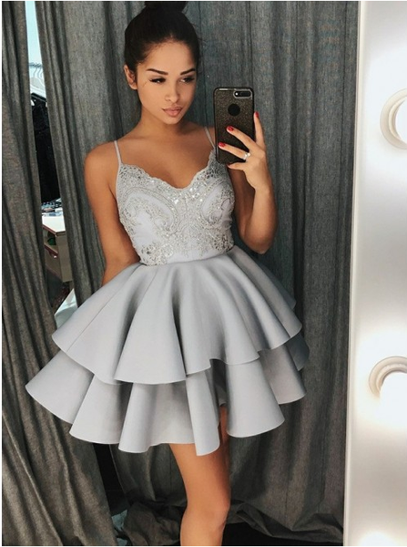 Fashion Spaghetti Straps Blush Pink Appliques Homecoming Dresses,Short Prom Graduation Dress LD1277