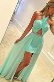 New Arrival Mint Chiffon Halter Hi-lo Sexy Prom Dresses Evening Gowns LD127