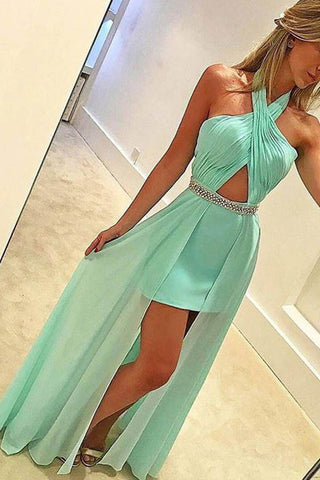8ffae441be New Arrival Mint Chiffon Halter Hi-lo Sexy Prom Dresses Evening Gowns –  Laurafashionshop