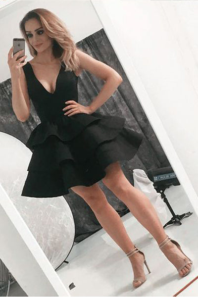 Simple Black V Neck Sleeveless Tiered Skirt Short Homecoming Dresses Prom Hoco Dress LD1280