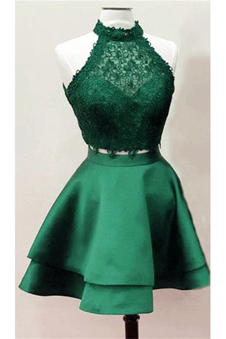 2 Pieces Homecoming Dresses,Dark Green Lace Homecoming Dresses,Graduation Hoco Dress LD1284