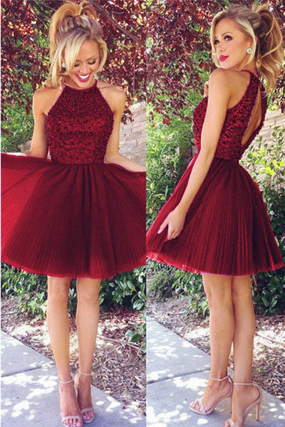 Top Selling Halter Open Back Burgundy Tulle Beaded Short Homecoming Dresses Prom Hoco Dress LD1285