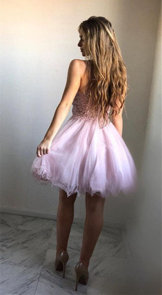 Pink Lace Homecoming Dresses,Short Homecoming Dresses,V Neck Homecoming Dress,Prom Hoco Dress LD1286
