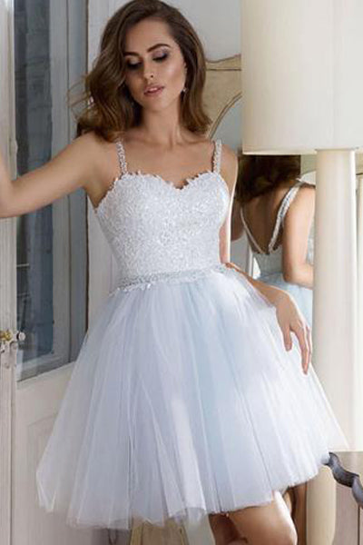 Chic Spaghetti Straps White Lace Tulle Beaded Short Homecoming Dresses Prom Hoco Dress LD1289