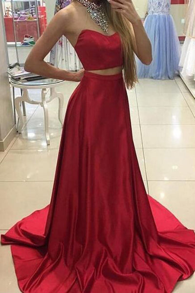 Red Satin Two Piece High Neck Beads Long Prom Dress Evening Gowns LD128