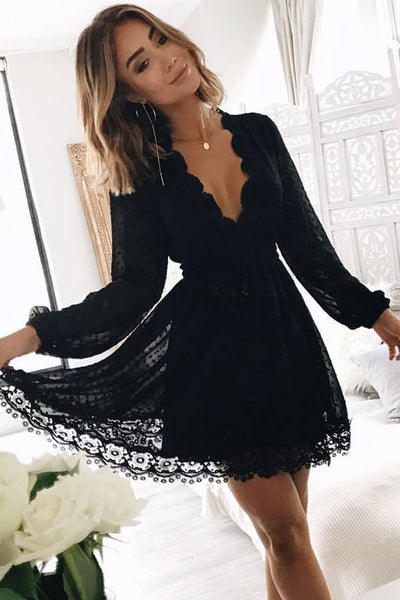 Black Lace Long Sleeves V Neck Homecoming Dresses,Mini Length Prom Graduation Hoco Dress LD1301
