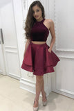 2 Pieces  Burgundy High Neck Short Homecoming Dresses With Pocket,Graduation Hoco Dress LD1302