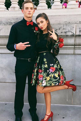 2 Pieces Lace Black Printed Satin Long Sleeves Homecoming Dresses Prom Dress With Pocket LD1303
