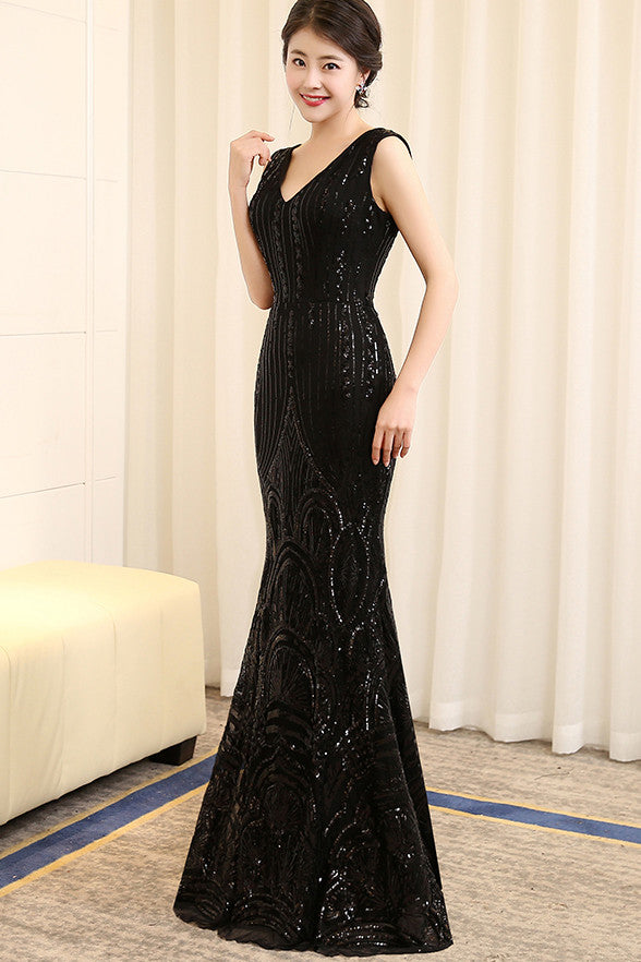 d38965e7d9 Black Sequin V Neck Mermaid Long Shiny Prom Dresses Evening Gowns LD130 -  US0 / Picture color