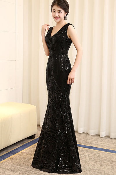 Black Sequin V Neck Mermaid Long Shiny Prom Dresses Evening Gowns LD130