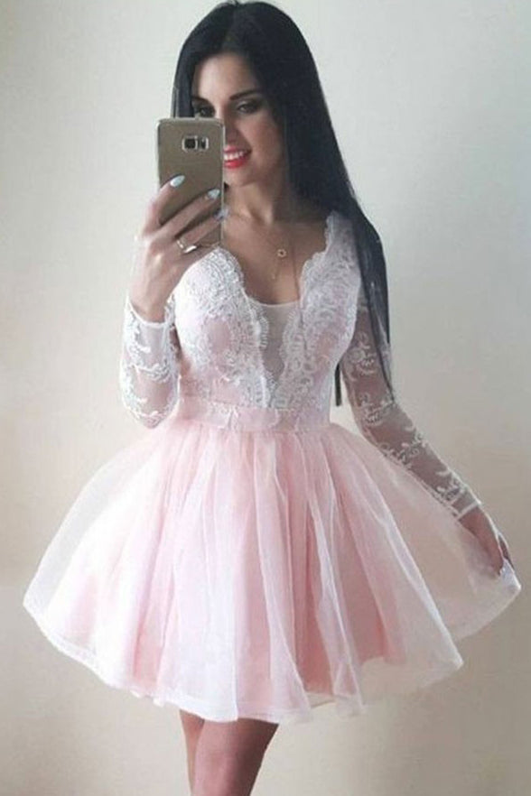 Fashion Long Sleeves White Lace Pink V Neck Mini Homecoming Dresses Graduation Dress LD1311
