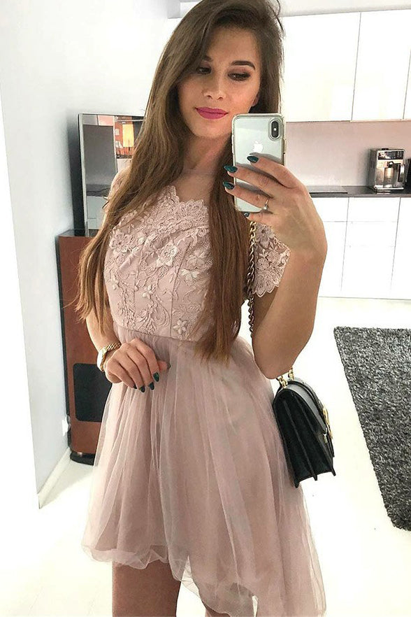 Fashion Short Sleeves Lace Tulle A Line Short Homecoming Dresses Prom Hoco Dress LD1312