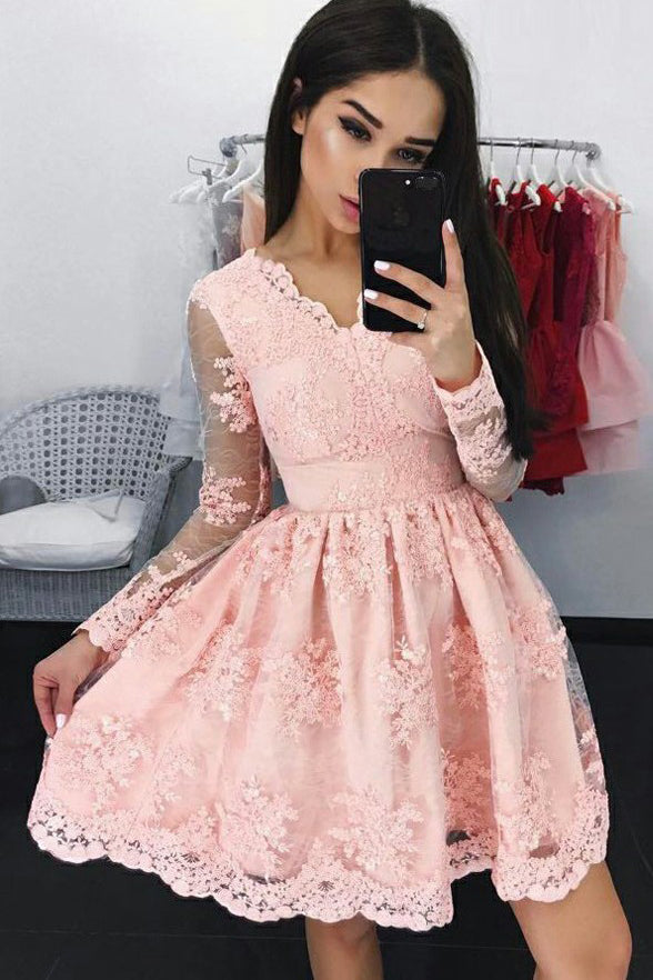 Charming A Line Long Sleeves Pink Lace Homecoming Dress V Neck Mini Prom Hoco Dresses LD1314
