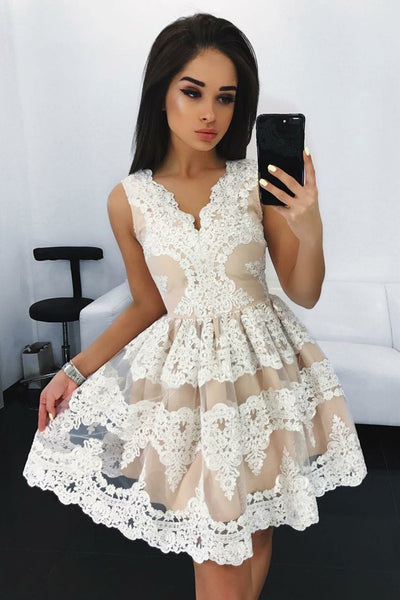 White Lace Sleeveless V Neck High Quality Homecoming Dresses Short Prom Hoco Dress LD1316