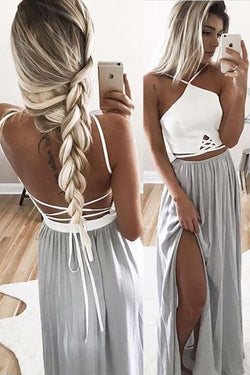 Sexy Backless White/Silver Sapghetti Straps Long Prom Dress Evening Gowns LD131