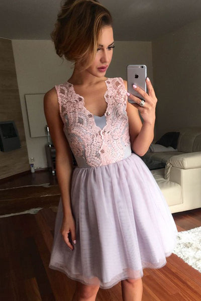 Fashion V Neck Sleeveless Lace Light Lavender Short Homecoming Dresses Prom Graduation Dress LD1322