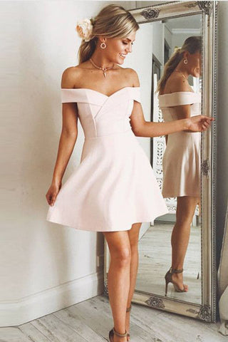 Elegant A Line Off the Shoulder Cheap Short Homecoming Dresses Graduation Prom Dress LD1323