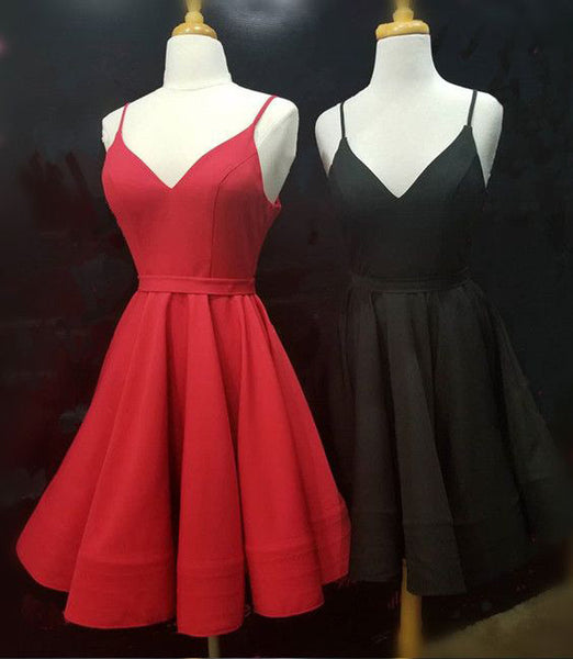 Simple Real Picture Red Satin Spaghetti Straps Short Homecoming Dresses Graduation Dress LD1324