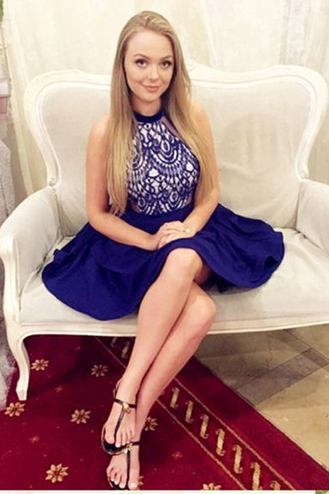 A Line Lace Halter Royal Blue Short Homecoming Dresses Prom Graduation Dress LD1326
