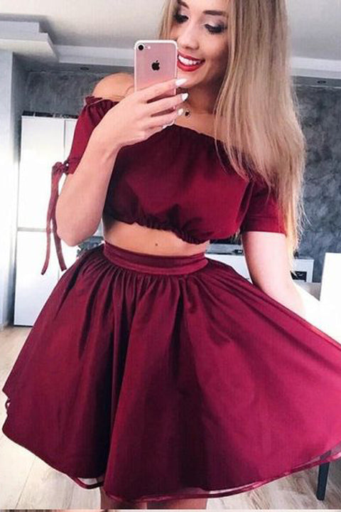 2 Pieces Off the Shoulder Burgundy Short Sleeves Homecoming Dresses Mini Graduation Dress LD1327