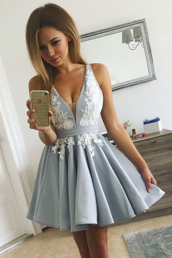 Top Selling V Neck White Lace Appliques Grey Short Homecoming Dresses Graduation Prom Dress LD1328