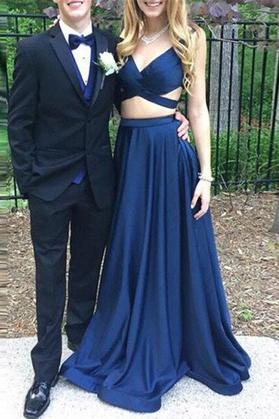2 Piece Dark Blue V Neck Backless Sexy Prom Dress Evening Gowns LD132