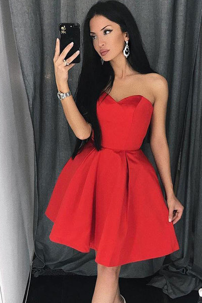 Elegant Red Satin Strapless Cheap Short Homecoming Dresses Prom Graduation Dress Party Gowns LD1331