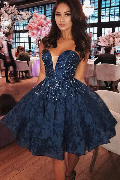 Navy Blue Lace Sweetheart Beaded Short Homecoming Dresses Prom Gowns Graduation Dress LD1332
