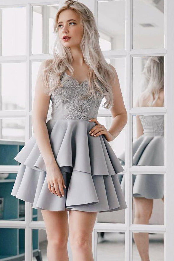 Fashion Lace Appliques Spaghetti Straps Silver Grey Short Homecoming Dresses Prom Hoco Dress LD1333