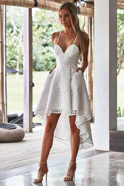 White Lace Spaghetti Straps Front Short Long Back Homecoming Dresses Backless Prom Dress LD1334