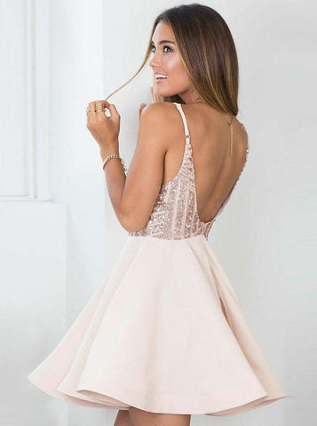 ee6ce060f54 ... Open Back Spaghetti Straps Rose Gold Sequin Short Homecoming Dresses  Sexy Prom Hoco Dress LD1336 ...