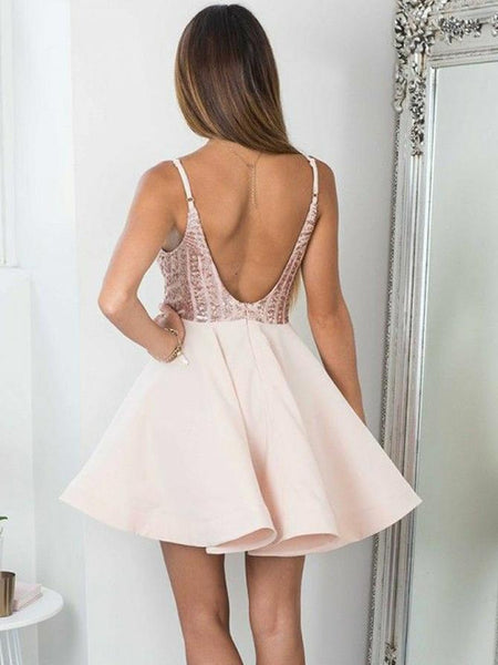 Open Back Spaghetti Straps Rose Gold Sequin Short Homecoming Dresses Sexy Prom Hoco Dress LD1336