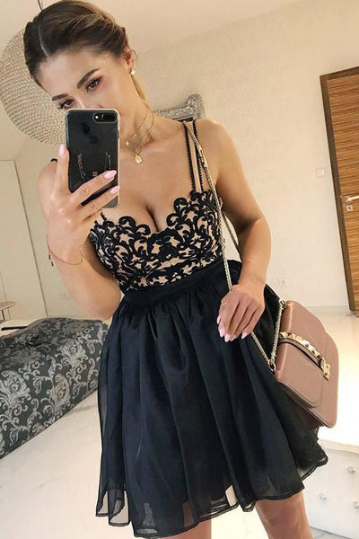 Chic Empire Waist Lace Spaghetti Straps Black Short Homecoming Dresses Prom Cocktail Dress LD1339