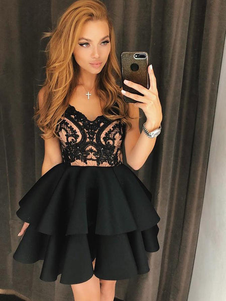 A Line Spaghetti Straps Lace Black Beaded Short Homecoming Dresses Prom Hoco Dress For Party LD1342