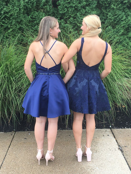 New Arrival A Line Navy Blue Lace Satin Backless Homecoming Dresses Mini Vintage Prom Dress LD1345