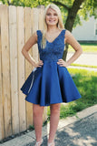 Chic Royal Blue Lace Backless V Neck Plus Size Short Homecoming Dresses Prom Hoco Dress LD1346