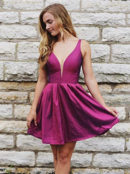 A Line Deep V Neck Plum Cheap Short Homecoming Dresses Prom Hoco Dress Party Gowns LD1347