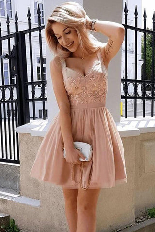Blush Pink Lace Appliques Off the Shoulder Homecoming Dresses Mini Length Prom Hoco Dress LD1348