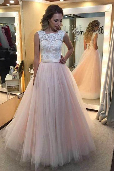 White Lace Pink Tulle Prom Dress Evening Gowns With Lace Back Up LD134