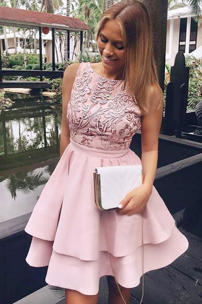 Chic Lace Pink Tiered Skirt Homecoming Dresses Short Prom Hoco Dress For Party Cocktail Gowns LD1350