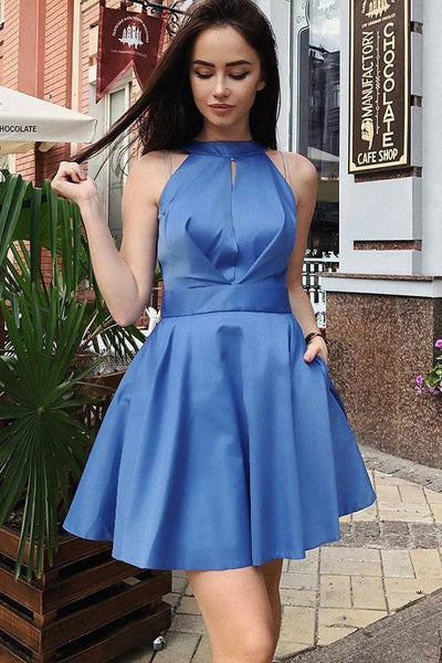 A Line Halter Royal Blue Backless Short Homecoming Dresses Prom Hoco Dress With Pocket LD1351