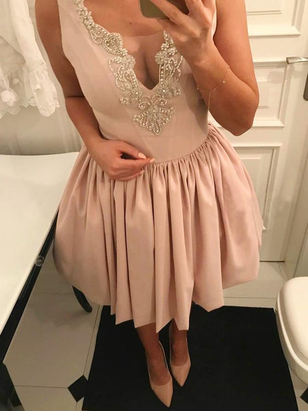 A Line V Neck Sleeveless Light Pink Appliques Short Homecoming Dresses Prom Hoco Dress LD1352