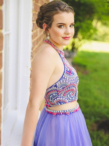 f8b5d219ef ... New Arrival Halter Colored Beaded Lavender 2 Pieces Homecoming Dress  Short Prom Hoco Dresses LD1355 ...