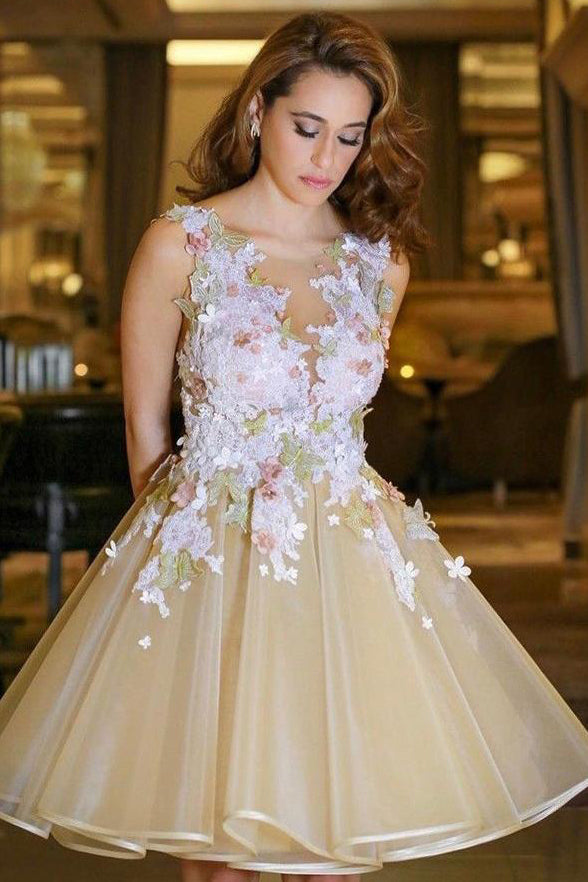 A Line Cute Dress Lace Appliques Organza Homecoming Dress Short Prom Gowns Hoco Dresses LD1356