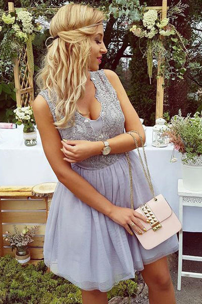 Charming Lilac Lace Tulle See Through Back Mini Length Homecoming Dress Prom Hoco Dresses LD1358