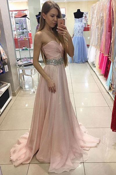 Sweetheart Blush Pink Chiffon Beaded Belt Prom Dress Evening Gowns LD135