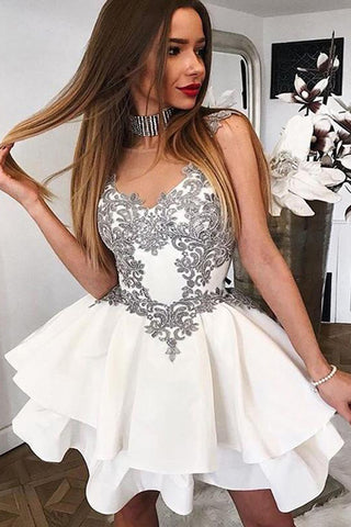 2d232cd4a76b White Homecoming Dresses,Grey Lace Appliques Tiered Short Prom Dresses –  Laurafashionshop