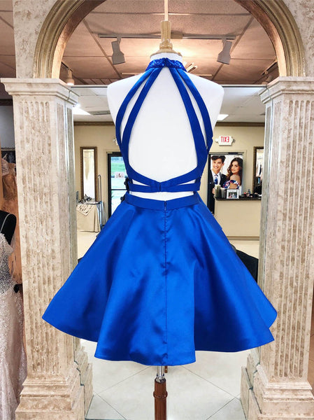 Two Piece Royal Blue Halter Backless Beaded Short Prom Dress Homecoming Dresses For Party LD1362