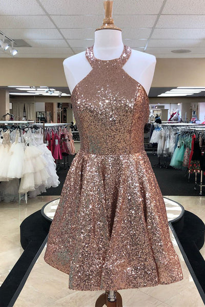 Shiny Rose Gold Sequin Halter Open Back Homecoming Dresses Short Prom Graduation Dress LD1364