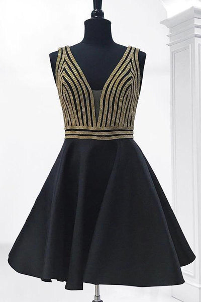 Fashion Gold Crystals Black Satin V Neck Short Prom Dress Homecoming Dresses For Party LD1366